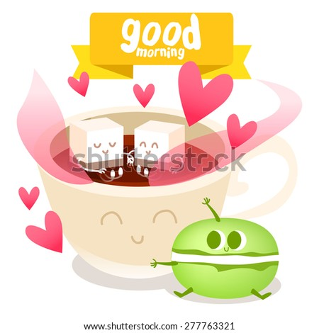 Postcard Valentine's Day with cute coffee cup and colorful macaroon on the  background.  Illustration with funny characters.  - stock vector