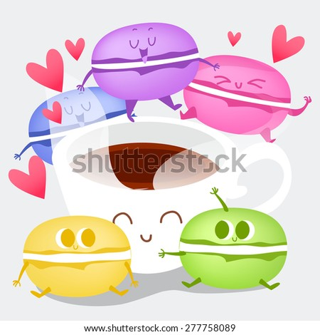 Postcard Valentine's Day with cute coffee cup and colorful macaroons on the  background.  Illustration with funny characters. Set of different taste macaroons. - stock vector