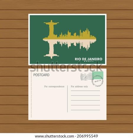 postcard. Vector illustration - stock vector
