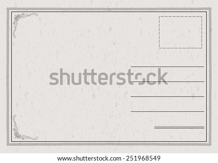 Postcard vector in a classic, elegant style with paper texture - stock vector