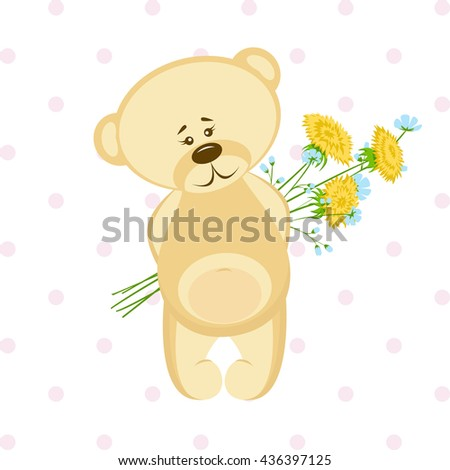 Postcard with bear and flowers