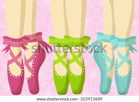 Postcard with beautiful feet in pointe - stock vector