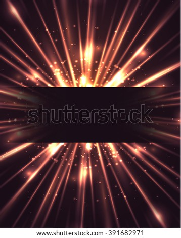 Postcard with bright explosion with rays and glare. Cover, card for your design - stock vector