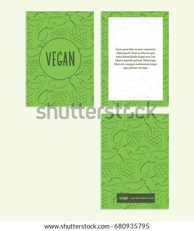 Postcard with outline vegetarian pattern