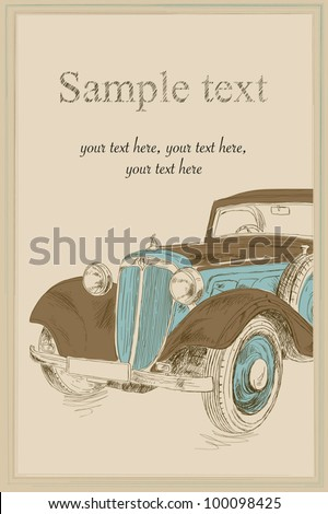 Postcard with retro car - stock vector