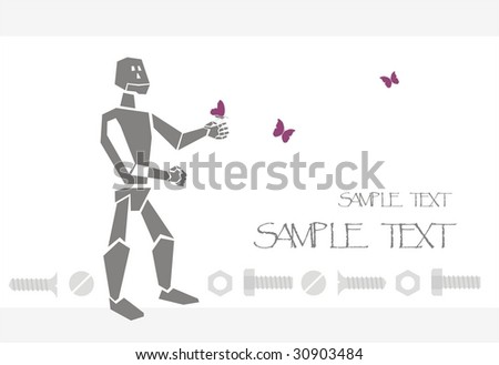 postcard with robot and butterfly - stock vector