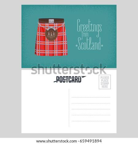 Postcard scottish traditional skirt kilt vector stock vector postcard with scottish traditional skirt kilt vector illustration template double sided blank with greetings m4hsunfo