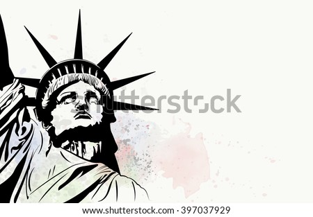 Postcard with Statue of Liberty and vector watercolor splash  - stock vector