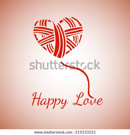 Postcard with the image of a ball of yarn wound on the heart shape for your design - stock vector