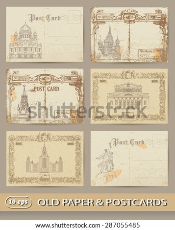 Postcards Moscow. - stock vector