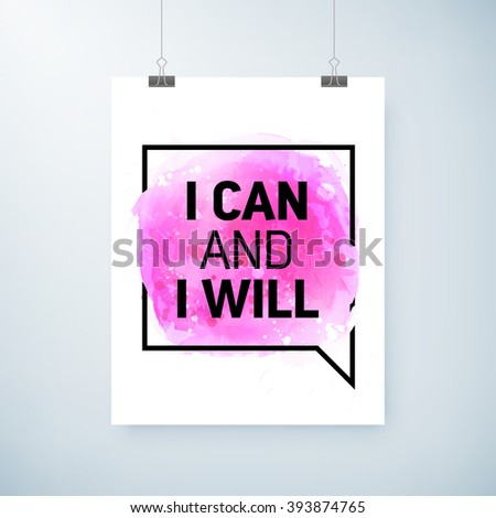 poster abstract watercolor design with motivation text, paper clips and shadow. vector editable illustration. - stock vector