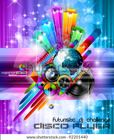 Poster Background for music international disco event with rainbow colours, abstract design elements and a lot of stars! - stock vector