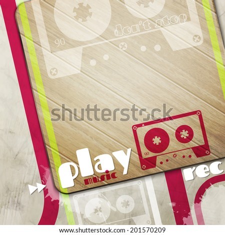 poster background with wooden board on cement wall and retro cassette tape symbol - stock vector