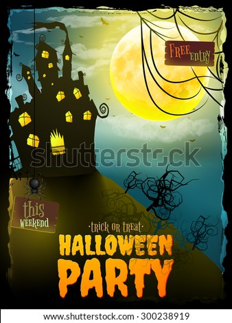 Poster, banner or background for Halloween Party night with haunted house. EPS 10 vector file included - stock vector