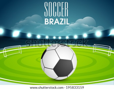 Poster, banner or flyer design with soccer ball on stadium in night background.  - stock vector