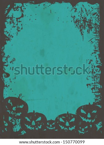 Poster, banner or flyer with scary pumpkins and dead trees on grungy green background.