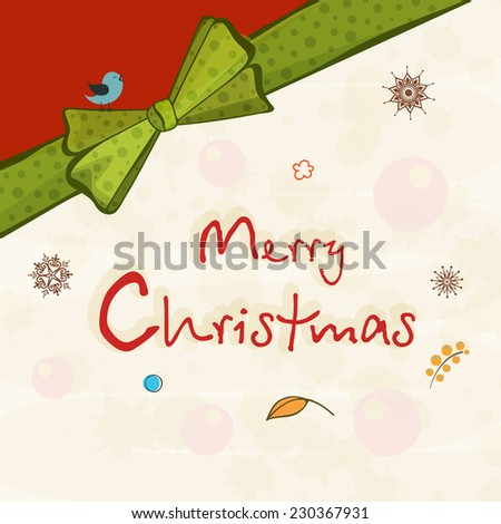 Poster, banner or greeting card decorated with green ribbon and stylish text for Merry Christmas celebrations. - stock vector