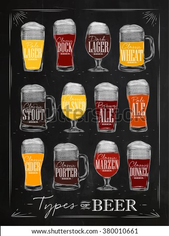 Poster beer types with main types of beer pale lager, bock, dark lager, wheat, stout, pilsner, brown ale, pale ale, cider, porter, marzen, dunkel drawing with chalk in vintage style on chalkboard. - stock vector