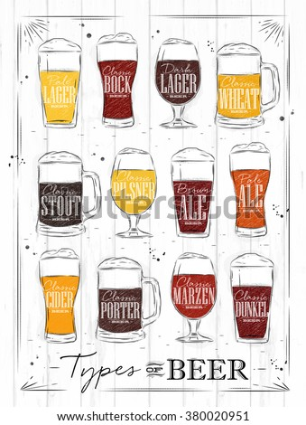 Poster beer types with main types of beer pale lager, bock, dark lager, wheat, stout, pilsner, brown ale, pale ale, cider, porter, marzen, dunkel drawing with coal in vintage style on wood background. - stock vector