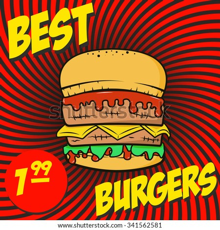 Poster Burger with price on sunburst background. Vector illustration.