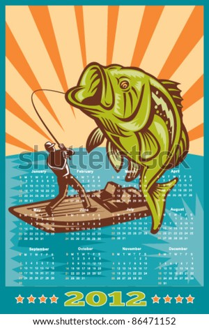 poster calendar 2012 showing Largemouth Bass jumping with fly fisherman fishing on boat done in retro style - stock vector