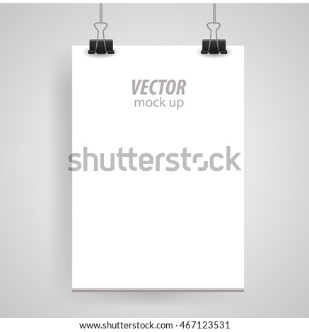 Poster clothespins on a white sheet for your design. Vector illustration