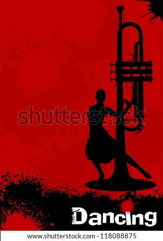 Poster Dance Festival with silhouettes dancers and musical pipes; - stock vector