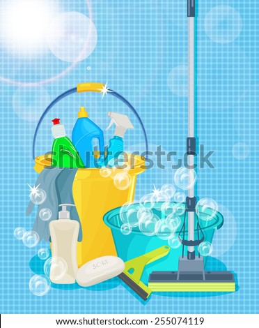 Poster design for cleaning service and cleaning supplies. Cleaning kit icons - stock vector