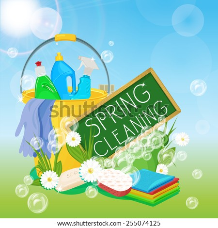 Poster design for cleaning service and cleaning supplies. Spring cleaning kit icons - stock vector
