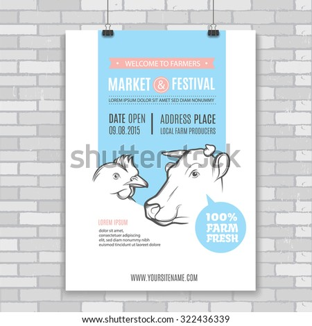 Poster design template with cow and chicken. Perfect design for farm market advertising, farming industry and bio product business. Modern business identity for bio products and agricultural industry. - stock vector