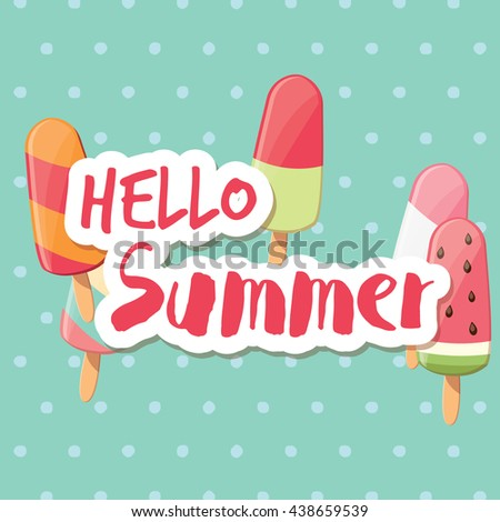 Poster design with colorful glossy ice cream, vector illustration - stock vector