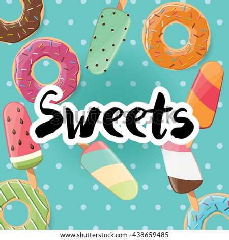 Poster design with colorful glossy tasty donuts and ice cream, vector illustration - stock vector