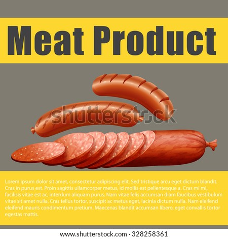 Poster design with meat product illustration