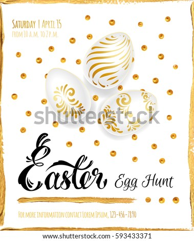 Poster Easter Egg Hunt Calligraphy Gold Stock Vector (2018 ...