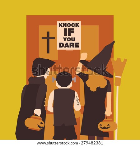 Poster, Flat banner or background for Halloween Party Night. Dracula, Frankenstein, Witch design - stock vector