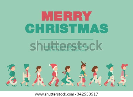 Poster Flat Banner Or Background For Kids Merry Christmas Party