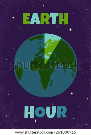Poster for a Earth hour - stock vector
