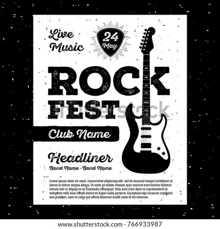 Poster for a rock music festival with guitar rock and roll sign vector illustration