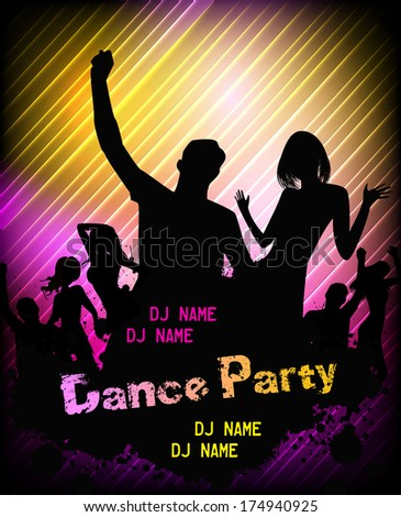 Poster for disco party with silhouettes of dancing people - stock vector