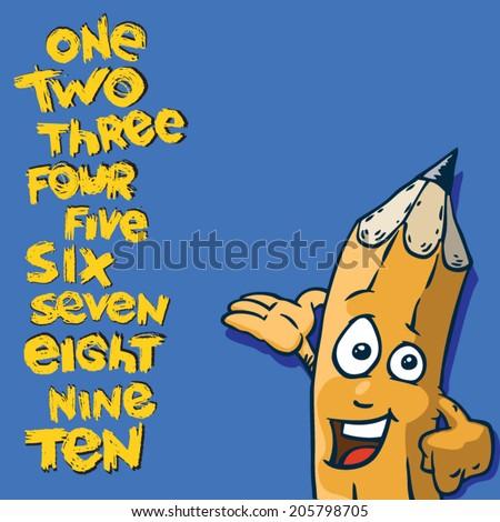 poster for school. numbers written in words in the vector. funny pen character - stock vector