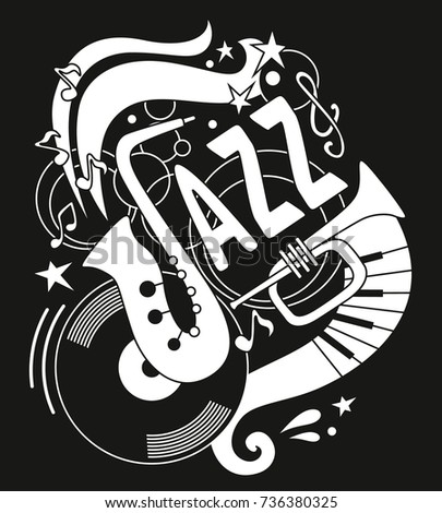 Poster For The Jazz Festival Musical Instruments On Black Background Saxophone Trumpet