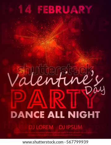 poster for valentines day party dance template with red hearts from burst lights and - Valentine Poster