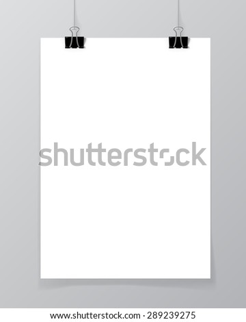 Poster hanging on a thread with two black clips. Blank sheet of paper against a concrete wall mock up. Urban minimalistic style portfolio presentation concept. Vector illustration. - stock vector