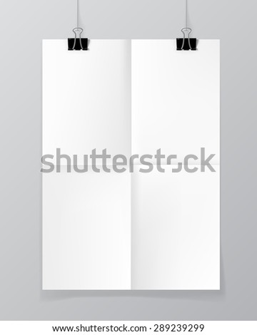Poster hanging on a thread with two black clips. Folded paper. Blank sheet of paper on a concrete wall mock up. Urban minimalistic style branding portfolio presentation concept. Vector illustration. - stock vector