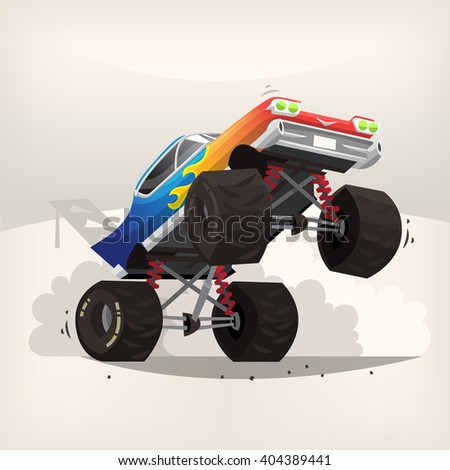 Poster illustration with cartoon monster truck standing on back wheels exhausting fume - stock vector