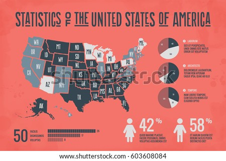 Poster Map United States America State Stock Vector - Map of the usa with state names