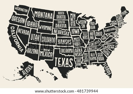 Poster Map United States America State Stock Vector 2018 481739944