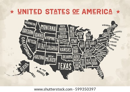 Poster Map United States America State Stock Vector - Map united states black and white