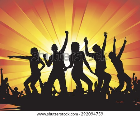 Poster of dancing girls and boys - stock vector