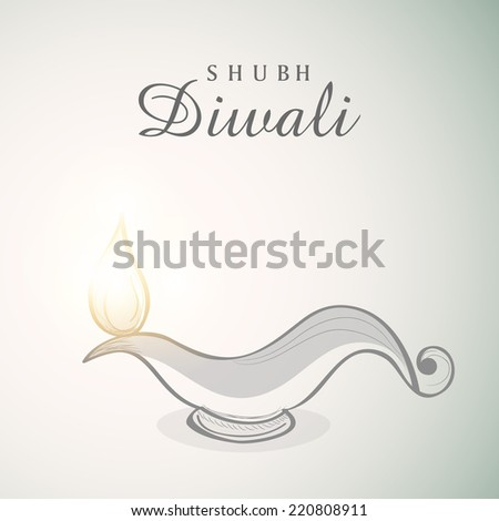 Poster of illuminated oil lit lamp with beautiful text of Shubh Diwali on white and light skyblue background. - stock vector